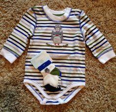 Gymboree Baby Boy Owl Bodysuit 3-6M & 2 Pairs Of Matching Socks 0-3M NWT