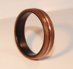 Wooden Rings - Bentwood Ebony, Walnut and Copper Inlay Rings - Mens Wood Rings, Womens Wood Rings, Wood Engagement Rings, Wood Wedding Bands