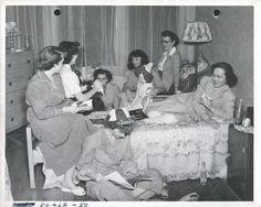 Student Nurses Gathered in a Classmate's Room, c.1950. Image courtesy of the Barbara Bates Center for the Study of the History of Nursing.