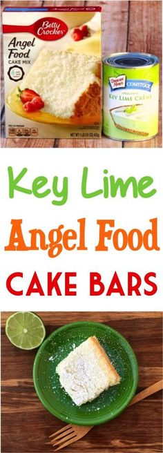 Key Lime Angel Food Cake Bars Recipe!  Skip the pie and try these easy 2 ingredient Key Lime Bars instead!