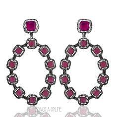 Brinco Semi Joia Fina Com Pedras Rubi Pink e Zirconias Folheado Rodio Negro (AUL-6633+1) #fashion #moda #semijoias #joias