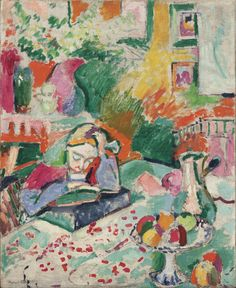 Interior with a Young Girl (Girl Reading), Henri Matisse (French, Oil on canvas. // Matisse's daughter Marguerite sits quietly, absorbed in a book—depicted with bold marks and vivid, planes of opposing and often complementary colors. Henri Matisse, Matisse Kunst, Matisse Art, Matisse Tattoo, Matisse Drawing, Art And Illustration, Raoul Dufy, Art Amour, Matisse Paintings