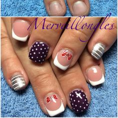 Faux ongles gel uv pois noeuds french