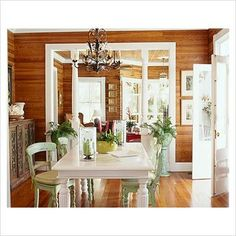 wood paneling white trim. Use of color.: