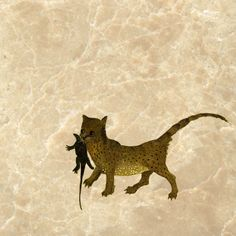 Cat with salamander from The Garden of Earthly Delights, 1504.  Marble Tile by williammorristile.com