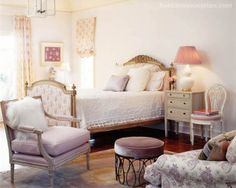 french furnishings in a bedroom of palest lavender / thomas beeton
