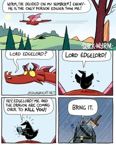 (*) Twitter Dragon Comic, Funny Dragon, Red Dragon, Dnd Funny, Funny Cute, Hilarious, Slack Wyrm, Calvin And Hobbes Comics, Random Stuff