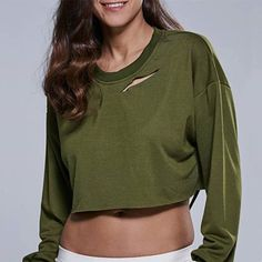 Military Green Ripped Drop Shoulder Cropped Sweatshirt #sweatshirt #militarygreen fashion #chic #style #trend #girls #top #clothing #wholesale #shenmart  Wholesale Website: www.shenmart.com Contact e-mail: service@shenmart.com