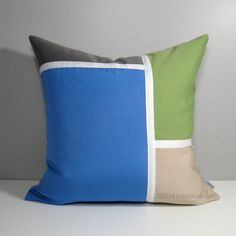 Color Block Pillow Cover in Sky Blue and Ginko Green, Grey and beige. Modern Indoor Outdoor Sunbrella Pillows by #mazizmuse #SunbrellaPillows #ModernPillows