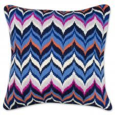 Jonathan Adler Pink And Blue Bargello Zig Zag Pillow in Pillows