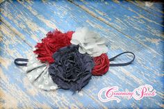 Navy Grey Maroon Hair Piece Hair Accessories by CrowningPetals, $15.50
