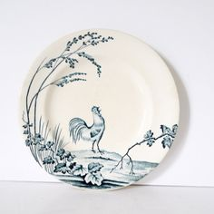 French Vintage blue and white ironstone Rooster Coq floral with  staffordshire flow blue delph blue blue willow l