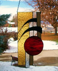 Abstract Stained Glass Panel with Swirls