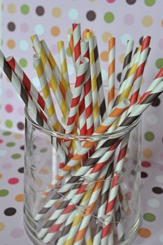 Paper Straws - 50 Fall Mix Red, Yellow, Orange and Brown Thanksgiving Mix Striped Party Straws and Coordinating DIY Straw Flag PDF. $8.00, via Etsy.