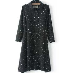 Black Polka Dot Waist Tie Chiffon Shirt Dress (379.290 IDR) ❤ liked on Polyvore featuring dresses, black, long black shirt dress, polka dot shirt dress, polka dot dress, long sleeve shirt dress and long sleeve polka dot dress