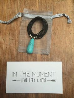 Turquoise Drop Necklace Fully Adjustable Cord by InTheMomentUK