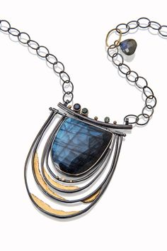 Labradorite necklace with faceted tourmalines. http://sydneylynch.com
