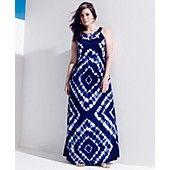 INC International Concepts Plus Size Dress, Sleeveless Cutout Tie-Dye Maxi