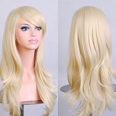 Anime Cosplay Synthetic Wig 10 Colors Japanese Kanekalon Heat Resistant Fiber Full Wig with Bangs Long Layered Curly Wavy 23'' / 58cm Stretchable Elastic Wig Net for Women Girls(linen blonde) * Click image for more details.