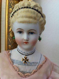 Artist Reproduction Antique China Parian Head Doll Emma Clear Beautiful Dress | eBay