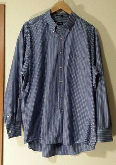 Chaps Mens XXL 18-18.5 34/35 Twill Button Down Blue Stripe Long Sleeve Shirt EUC #Chaps #Twill #DressShirt