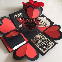 I love you Explosion Box With 4 Waterfall In Black red and silver, Design & Craft, Others on Carousell Valentines Gift Box, Valentines Gifts For Boyfriend, Boyfriend Gifts, Cute Birthday Gift, Diy Birthday, Birthday Cards, Scrapbook Box, Scrapbook Paper Crafts, Diy Gift Box