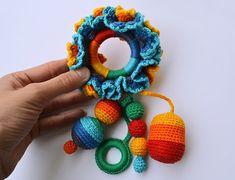 Rainbow Ruffle teething sling sensory toy Rattle by MursitaCrochet, €19.00