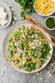 40 minutes · Serves · This freekeh salad is the perfect way to try out this wheat grain by pairing the nutty flavor of freekeh with the fresh taste of sweet corn and arugula. Sweet Corn Recipes, Whole Food Recipes, Healthy Salad Recipes, Vegetarian Recipes, Vegetarian Sweets, Lunch Recipes, Clean Eating, Healthy Eating, Healthy Food