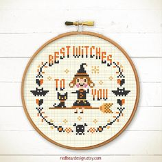 Halloween cross stitch pattern - Best Witches To You - Xstitch Instant download - Crazy Modern Trick or Treat Cute ghost Funny pumpkin skull