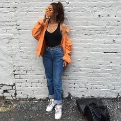 90s fashion, bomber jacket, mom jeans | @itsangiee