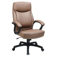 OFD Manage It Seating Executive High Back Eco Leather Chair with Locking Tilt Control, available in Black or Tan Eco Leather Used Chairs, Cool Chairs, High Back Office Chair, Chair And A Half, Upholstered Chairs, Chair Design, Tan Leather, Office Furniture, Tilt