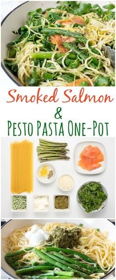 Creamy Pesto Pasta with Smoked Salmon - a one-pot meal, ready in under 20 minutes! I would nix the asparagus