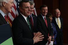 WASHINGTON, DC - DECEMBER 05:  (L-R) U.S. Senate Majority Whip Sen. John Cornyn (R-TX), Rep. Tim Murphy (R-PA), Sen. Bill Cassidy (R-LA), Sen. Chris Murphy (D-CT), Rep. Eddie Bernice Johnson (D-TX), and Sen. Lamar Alexander (R-TN) participate in a news conference December 5, 2016 on Capitol Hill in Washington, DC. A group of bi-partisan legislators held a news conference to call for Senate passage of mental health reform.  (Photo by Alex Wong/Getty Images)