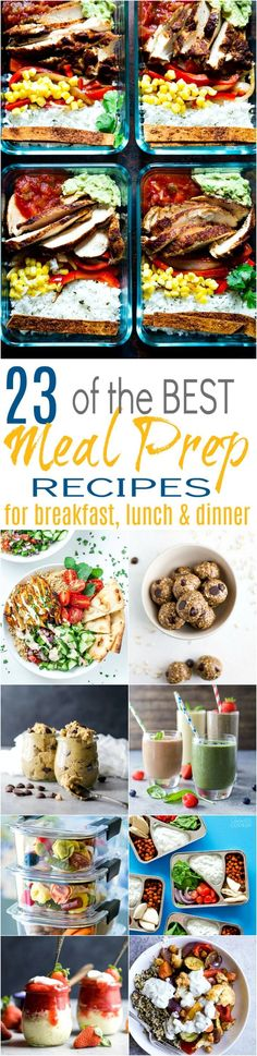 Healthy Recipes : Illustration Description 23 of the BEST Meal Prep Recipes for breakfast, lunch or dinner with a few dessert recipes snuck in there! Easy healthy recipes to prepare for the week that are guaranteed to keep you on track. -Read More – Best Meal Prep, Meal Prep For The Week, Healthy Meal Prep, Easy Healthy Recipes, Lunch Recipes, Real Food Recipes, Dessert Recipes, Budget Recipes, Healthy Lunches