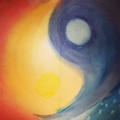 Third grade painting - sun and moon, stars and light, yin and yang. Form Painting by April Combs Mann. www.aprileight.com