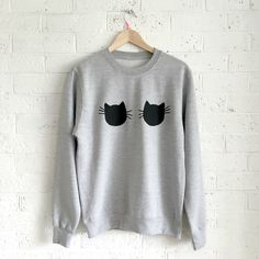 Cat sweatshirt- cat lovers sweatshirt - Cat tshirt - Kelly Connor Designs by KellyConnorDesigns on Etsy https://www.etsy.com/uk/listing/475015163/cat-sweatshirt-cat-lovers-sweatshirt-cat