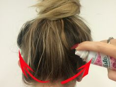 Spray dry shampoo while hair is still in ponytail, then blow dry cool