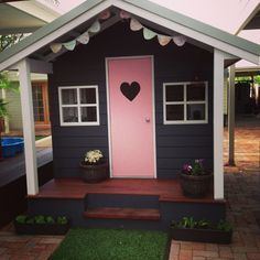 Little Love Shack - cubby house Exactly what I had in my head, even the heart on the door! Kids Cubby Houses, Kids Cubbies, Play Houses, Girls Playhouse, Backyard Playhouse, Playhouse Ideas, Kids Outdoor Play, Backyard For Kids, Backyard Playset