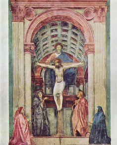 """PINTURA ::: Composición - """"La Santísima Trinidad"""",  sobre 1427 - MASACCIO - Composición PIRAMIDAL, SIMETRÍA LATERAL,   en la composición donde vemos la verdadera personalidad del artista , dando la sensación de EQUILIBRIO, ARMONÍA Y PROPORCÍÓN, Todo lo dicho fueron los IDEALES DEL ALTO RENACIMIENTO"""