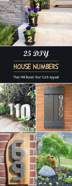 25 DIY House Numbers That Will Boost Your Curb Appeal - 25 Unique House Number Ideas that are Easy to Create Large House Numbers, Metal House Numbers, Door Numbers, Outdoor Projects, Diy Projects, Outdoor Decor, Unique Front Doors, Diy Exterior, House Address