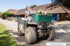 #Bride & #Groom on a quad bike! #Sussex farm wedding