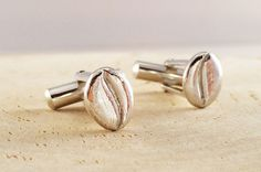 Coffee Beans Silver Cuff Links by SaeSumiKoru on Etsy