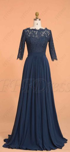 Navy blue modest prom dresses with sleeves long bridesmaid dresses with sleeves - Bridesmaid Dresses Prom Dresses Long Modest, Bridesmaid Dresses With Sleeves, Modest Bridesmaid Dresses, Blue Evening Dresses, Prom Dresses Long With Sleeves, Gowns With Sleeves, Dress Prom, Modest Evening Gowns, Wedding Dress
