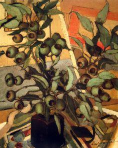 peira: blastedheath: Constance Stokes (Australian, 1906 - Green Gum Nuts Oil on canvas. Still Life Art, Australian Artists, Renoir, Pablo Picasso, Art Auction, Botanical Art, Oeuvre D'art, Graphic, Monet