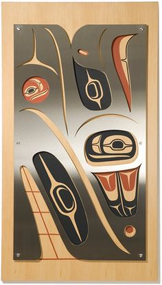Merge Wall Panel - Eagle and Whale Stainless steel, Douglas fir, hand-painted original motif, and stainless steel standoffs. Edition Closed.