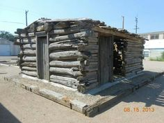Jackie Moore cabin, moved from Las Animas to Fowler by Boy Scout Troop 213, Eagle Project, Summer 2013.