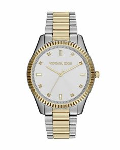 Two-Tone Stainless Steel Blake Three-Hand Glitz Watch by Michael Kors at Neiman Marcus.