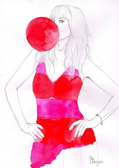 Pink and Red by http://chacha-illustrations.blogspot.com/ So fun and flirty! :)