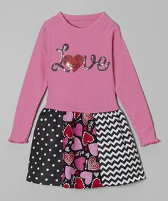 Hot Pink 'Love' Libby Ann Dress - Toddler & Girls by Beary Basics #zulily #zulilyfinds