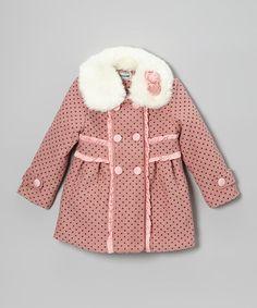 Look at this #zulilyfind! Rose Polka Dot Peacoat - Toddler & Girls #zulilyfinds